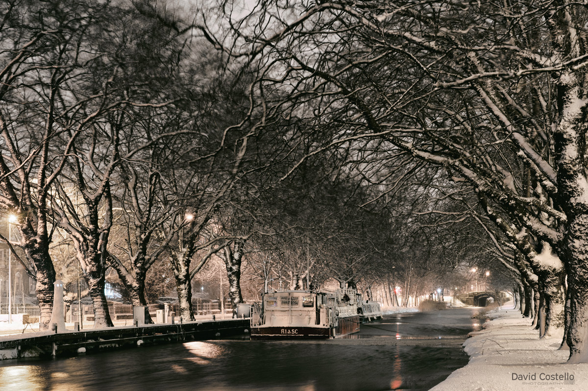 Snowy Night Along The Grand Canal