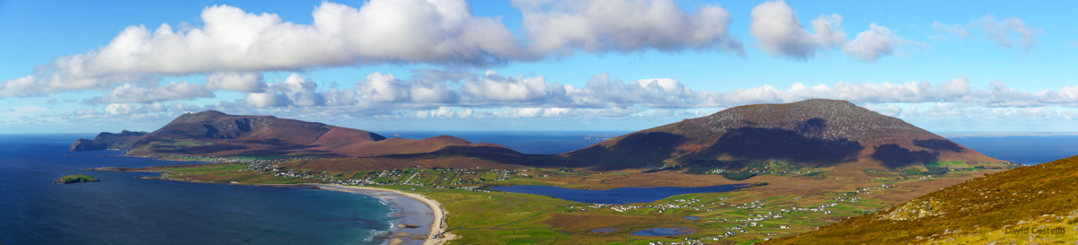 Panoramic view across the western part of Achill Island from Minaun Heights on a beautiful autumn day.