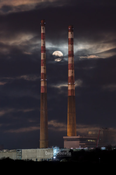Full Moon Poolbeg Chimneys